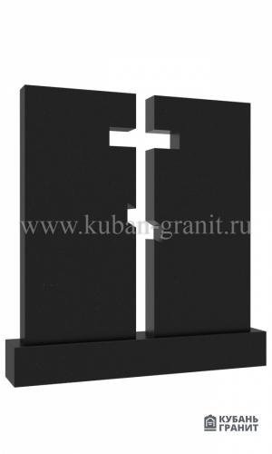 Гранитный памятник на двоих с крестом №14-2
