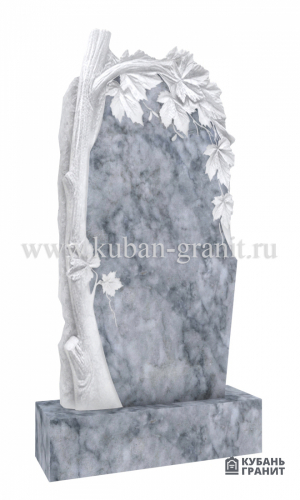 Мраморный памятник с деревом Клен