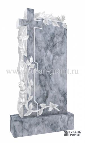 Мраморный памятник с крестом и розами 4