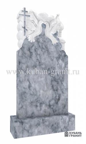 Мраморный памятник с крестом и голубями