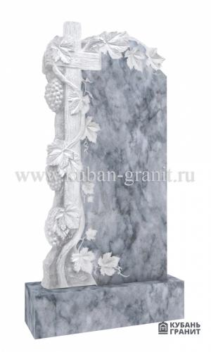 Мраморный памятник с крестом и виноградом