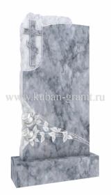 Мраморный памятник с крестом и розами 3